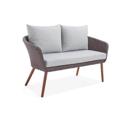 Athens Brown All-Weather Wicker Outdoor Loveseat with Light Gray Cushions