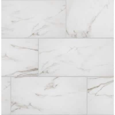 Michelangelo Calacatta Rectified 12 in. x 24 in. Matte Porcelain Floor and Wall Tile (133 sq. ft./Pack)