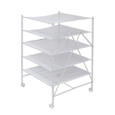 26 in. W x 36 in. H White Steel Portable Rolling Clothes Drying Rack