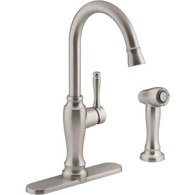 Arsdale Single-Handle Standard Kitchen Faucet with Swing Spout and Sidespray in Vibrant Stainless