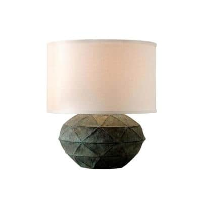 Patina 20.5 in. Verde Table Lamp with Off-White Linen Shade