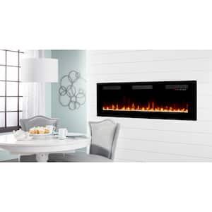 Sierra 60 in. Wall/Built-in Linear Electric Fireplace in Black