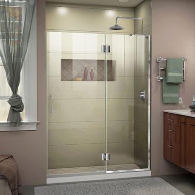 Unidoor-X 53 in. x 72 in. Frameless Hinged Shower Door in Chrome
