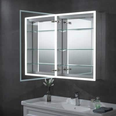 24 in. x 32 in. Recessed or Surface Mount Medicine Cabinet with LED Light