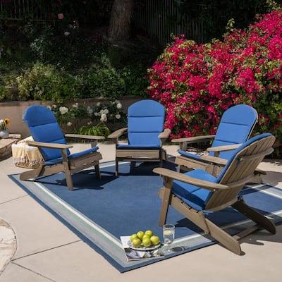 Malibu Grey Wood Adirondack Chair with Navy Blue Cushion (4-Pack)