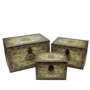 22 in. Oriental Style Brown and Cream Earth Tone Decorative Wooden Storage Boxes (Set of 3)