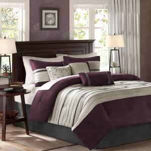 Teagan 7-Piece Plum California King Comforter Set
