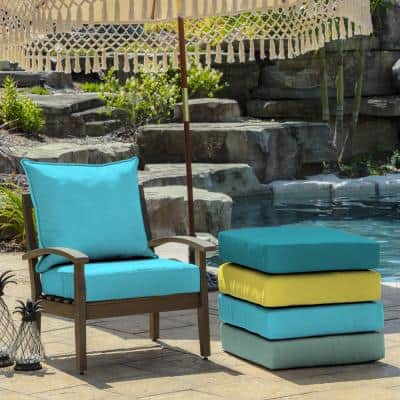 24 in. x 22.5 in. Pool Blue Leala Texture 2-Piece Deep Seating Outdoor Lounge Chair Cushion