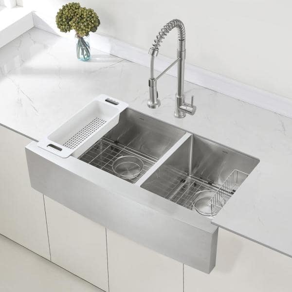 Zuhne Turin 36 In Farmhouse Apron Front 60 40 Double Bowl Stainless Steel Kitchen Sink 16 Gauge 9 In Round Apron Turin36 The Home Depot