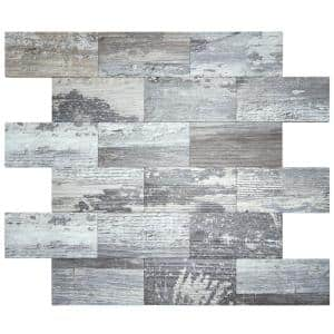 Subway Gray Stone PVC Compose Peel and Stick Tile Backsplash 13.5 in. x 11.4 in. (9.1 sq.ft./pack)
