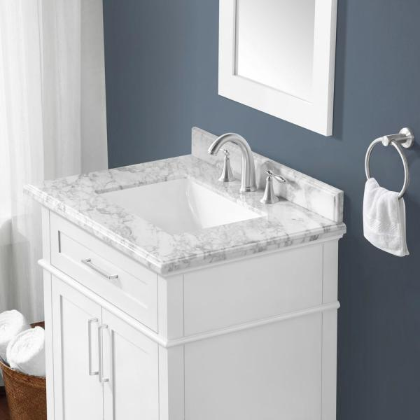 Home Decorators Collection Sonoma 30 In W X 22 In D Bath Vanity In White With Carrara Marble Vanity Top In White With White Basin Sonoma 30w The Home Depot