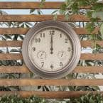 Indoor/Outdoor Brushed Silver 18 in. Wall Clock with Waterproof Thermometer and Hygrometer