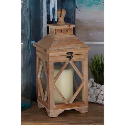 Brown Wood Coastal Candle Lantern (Set of 2)