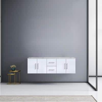 Geneva 60 in. W Double Bath Vanity in Glossy White with Marble Vanity Top in White Carrara with White Square Basins