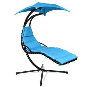 6.1 ft. Free Standing Hanging Swing Chair Hammock with Stand in Blue