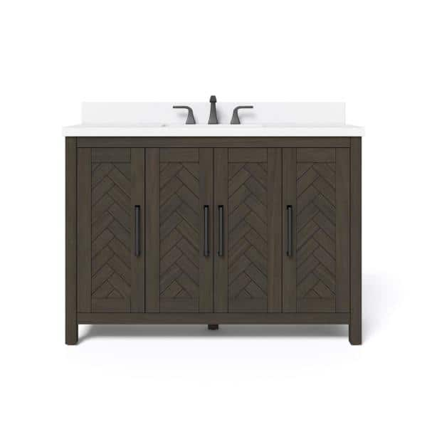 Home Decorators Collection Leary 48 In W X 34 5 In H Bath Vanity In Dark Brown With Engineered Stone Vanity Top In White With White Basin Hdc48hrv The Home Depot