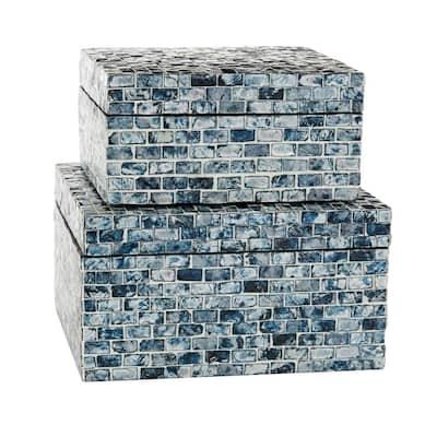 Multi Colored Mother of Pearl Coastal Decorative Box (Set of 2)