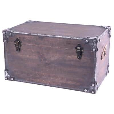 Distressed Wooden Vintage Industrial Style Decorative Trunk with Lockable Latch