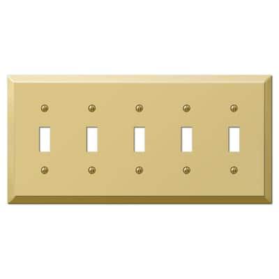 Metallic 5 Gang Toggle Steel Wall Plate - Polished Brass