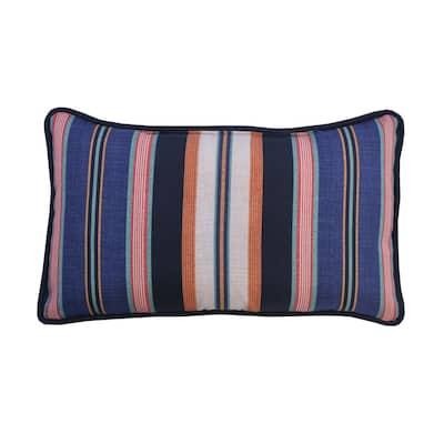 Caprice Stripe Lumbar Outdoor Throw Pillow (2-Pack)