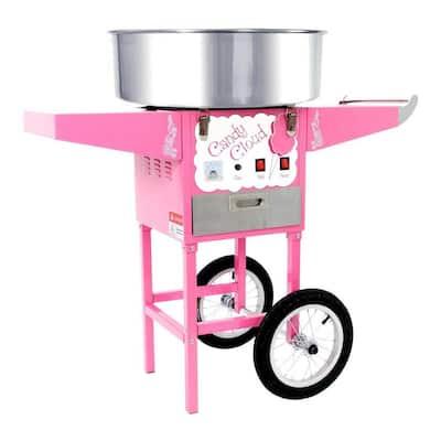Commercial Pink Cotton Cloud Hard Candy Machine Floss Maker Cart