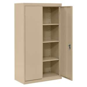 System Series 30 in. W x 64 in. H x 18 in. D Tropic Sand Double Door Storage Cabinet with Adjustable Shelves