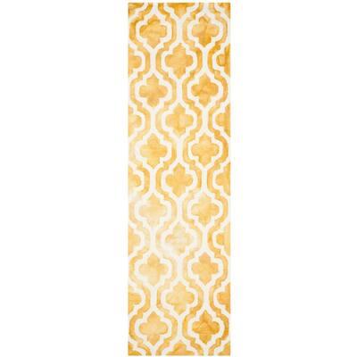 Dip Dye Gold/Ivory 2 ft. x 6 ft. Runner Rug