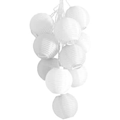 GLOW Outdoor Solar 10-Light  White Integrated LED String Light Set