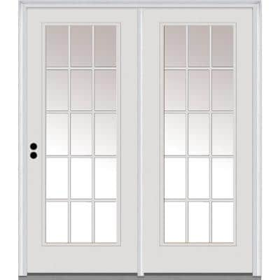 TRUfit 71.5 in. x 79.5 in. Right-Hand Inswing 15 Lite Dual Pane Clear Glass Primed Steel Double Prehung Patio Door