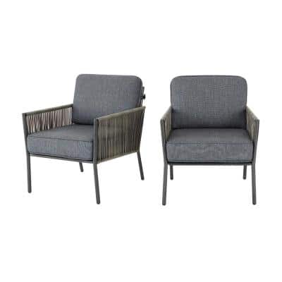 Tolston Wicker Outdoor Patio Stationary Lounge Chairs with Charcoal Cushions (2-Pack)