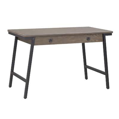 Empiria 48 in. W Gray/Matte Black Mixed Metal and Wood Computer Desk
