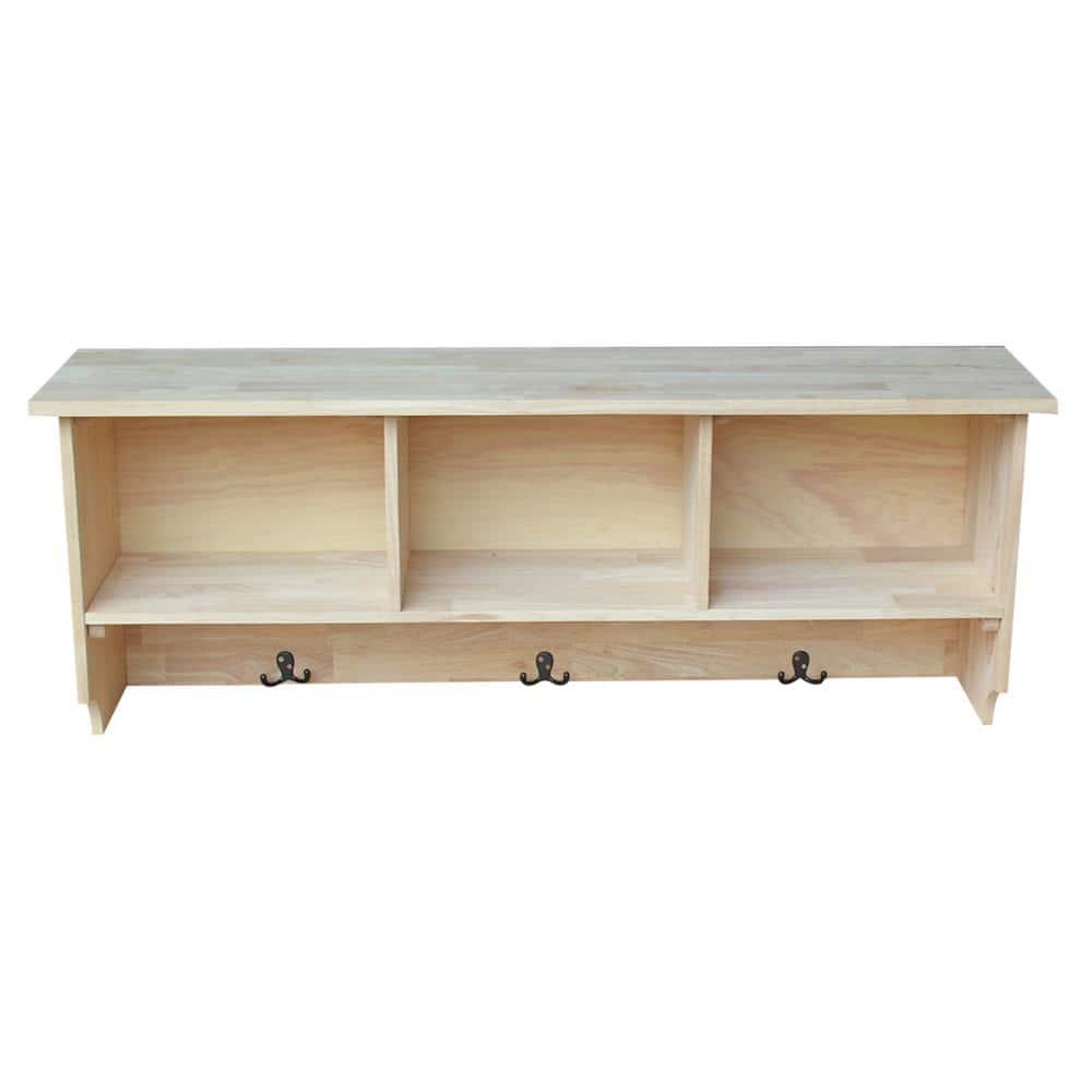 Natural Pine Shelf Single Wood Shelf. Kitchen Spice Rack Entryway or Hall Storage Shelf With Key Holder Unfinished Shelf with Hook