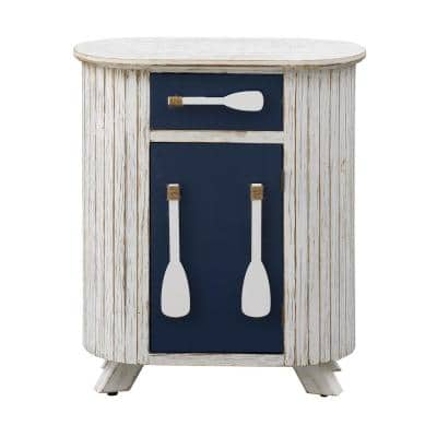 Schools-Out White and Blue 1-Drawer 1-Door Accent Cabinet
