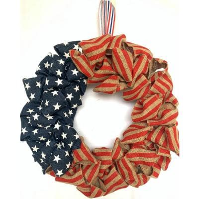 22 in. US Red And Blue National Day Burlap Wreath