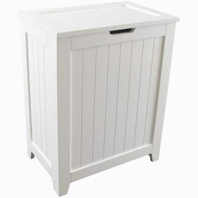 Contemporary Country White No Additional Features Wood Hamper with Wainscot Panels