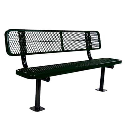 Surface Mount 6 ft. Black Diamond Commercial Park Bench with Back
