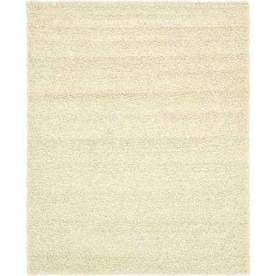 Solid Shag Pure Ivory 8 ft. x 10 ft. Area Rug