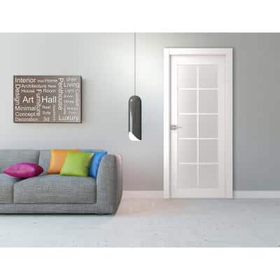 30 in. x 80 in. Smart Pro Polar White Solid Core Wood 10-Lite Frosted Glass Interior Door Slab No Bore