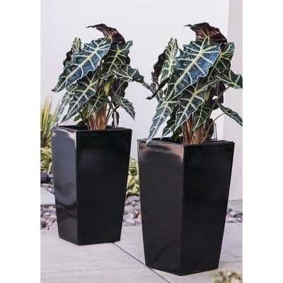 Xbrand 22 in. Tall Black Plastic Nested Self Watering Indoor/Outdoor Square Planter Pot (Set of 2)