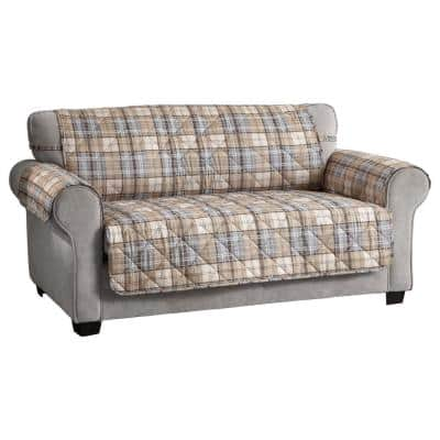 Tartan Plaid Natural Polyester Secure Fits on Sofa Cover 1-Piece
