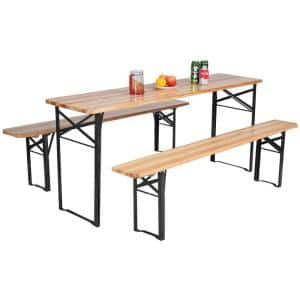 3-Piece Wood Rectangular Folding Picnic Outdoor Dining Set