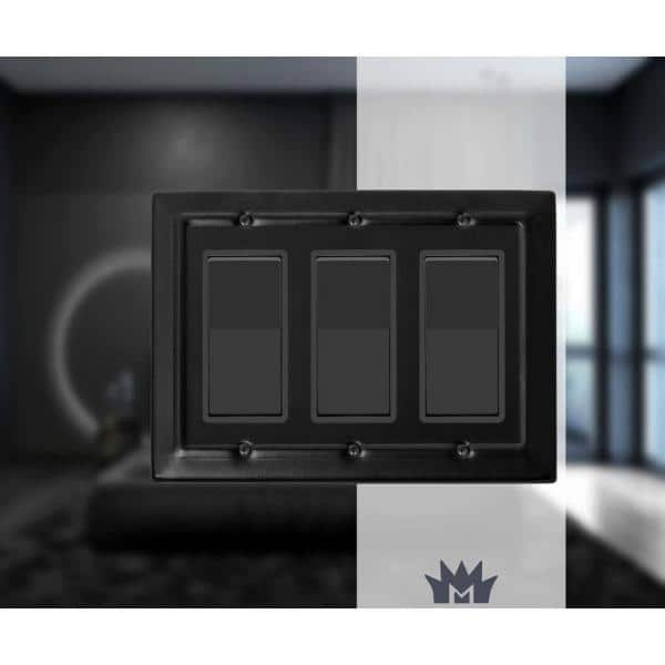 Monarch Abode Black 3 Gang Decorator Rocker Wall Plate 1 Pack 19159 The Home Depot