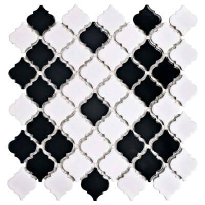 Hudson Tangier Black and White Mimos 12 in. x 12 in. Porcelain Mosaic Tile (10.96 sq. ft. / Case)