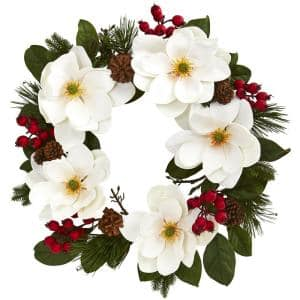 26 in. Magnolia, Pine and Berries Wreath