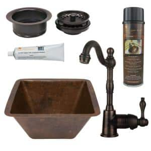 Bronze 16 Gauge Copper 15 in. Dual Mount Square Bar Sink with Faucet and Garbage Disposal Drain