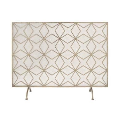 Yellow Gold Metal Fire Screen with Arched Feet
