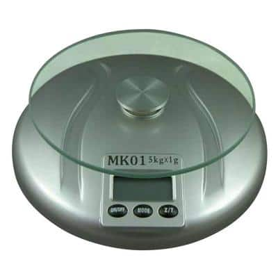 Digital Silver Kitchen Scale with Round Tempered Glass Top