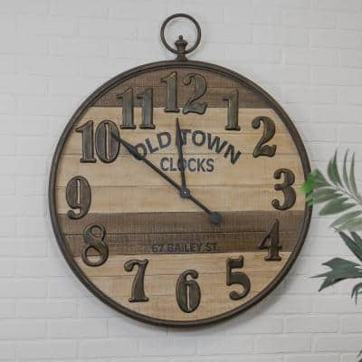 35 in. Wood and Metal Wall Clock
