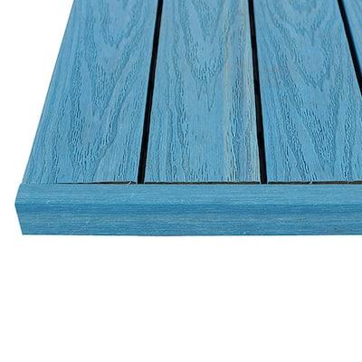 1/6 ft. x 1 ft. Quick Deck Composite Deck Tile Straight Trim in Caribbean Blue (4-Pieces/Box)