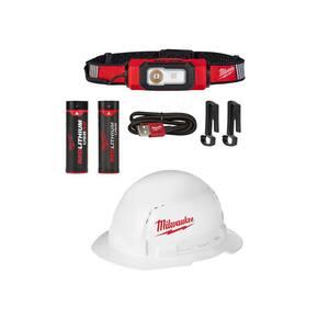 600 Lumens LED REDLITHIUM USB 360-Degree Hard Hat Headlamp and BOLT Full Brim Hard Hat w/ Extra USB 3.0 Ah Battery